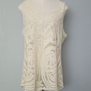 Cynthia Rowley off white lace and doyle like top